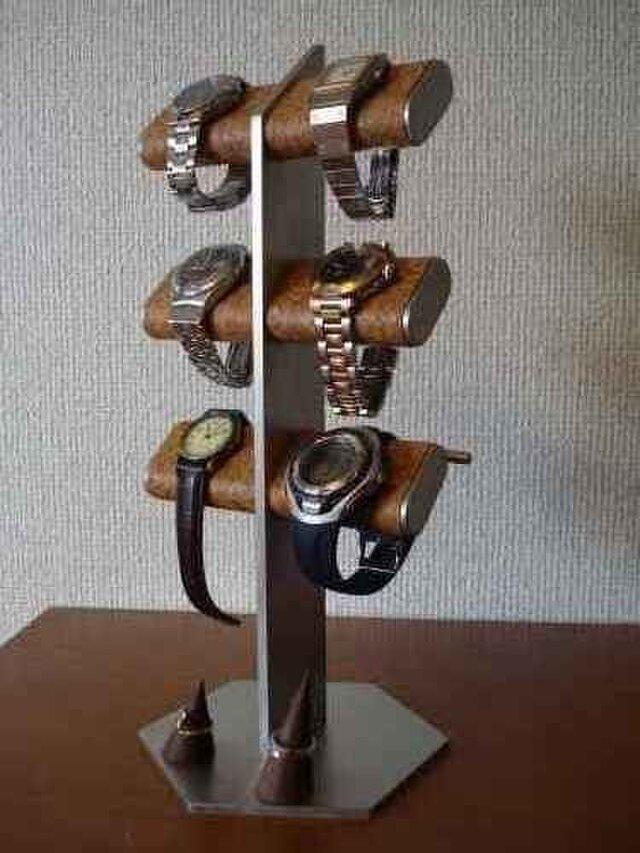 6本掛け腕時計、革バンド、リングスタンド(未固定)の画像1枚目