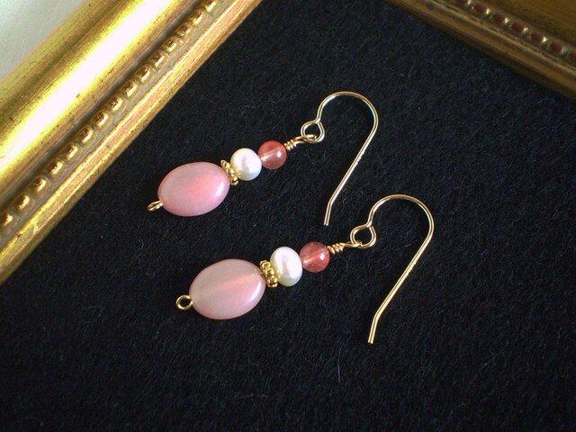 ◆14KGF◆ ピンク色のピアス/イヤリングの画像1枚目