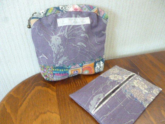 2北欧調綿麻のミシン刺繍ポーチパッチ、ティッシュカバーの画像1枚目