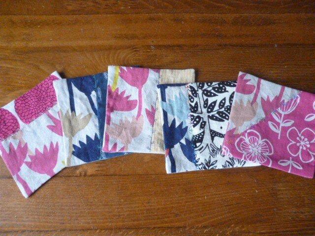 4北欧調綿麻のミシン刺繍パッチコースターセットの画像1枚目