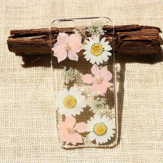 押し花ケース iPhone/Galaxy/Xperia 多機種対応 スマホカバー 花柄 スマホケース  NO:mu015の画像1枚目