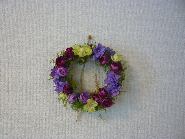 *紫陽花とラナンキュラスのリース*の画像1枚目