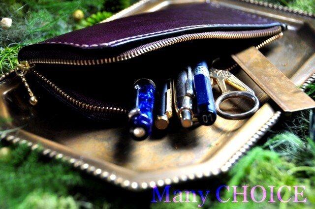 革の宝石ルガトー・L型ペンケース(紫)の画像1枚目
