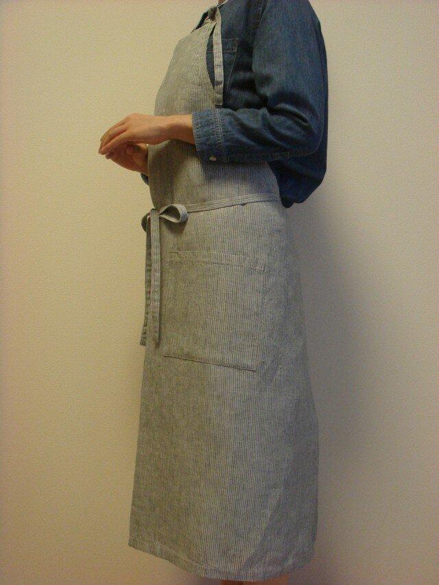 ☆リネン:丈92cm レイクグリーンストライプのエプロン☆の画像1枚目