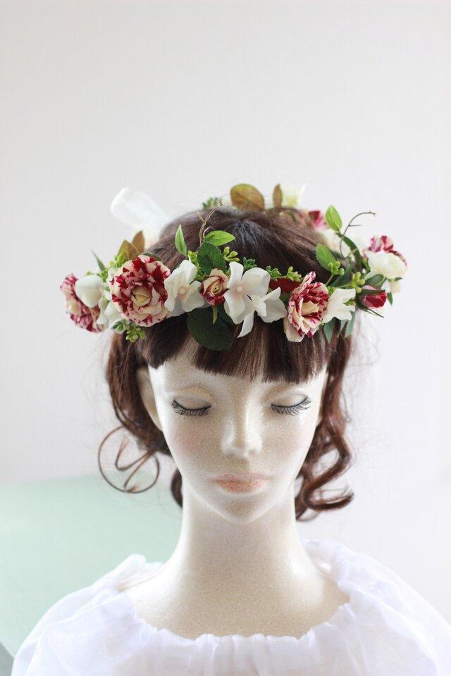 マーブル柄のスプレーバラとアジサイの花冠、ヘッドドレスの画像1枚目