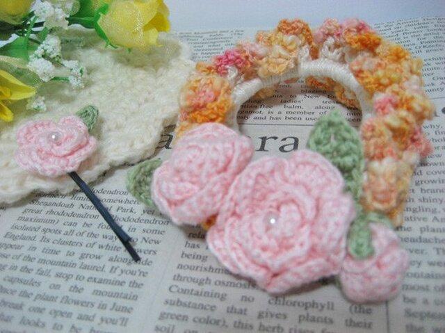 お花畑のコットンシュシュとヘアピンのセット*ピンク×黄色系の画像1枚目
