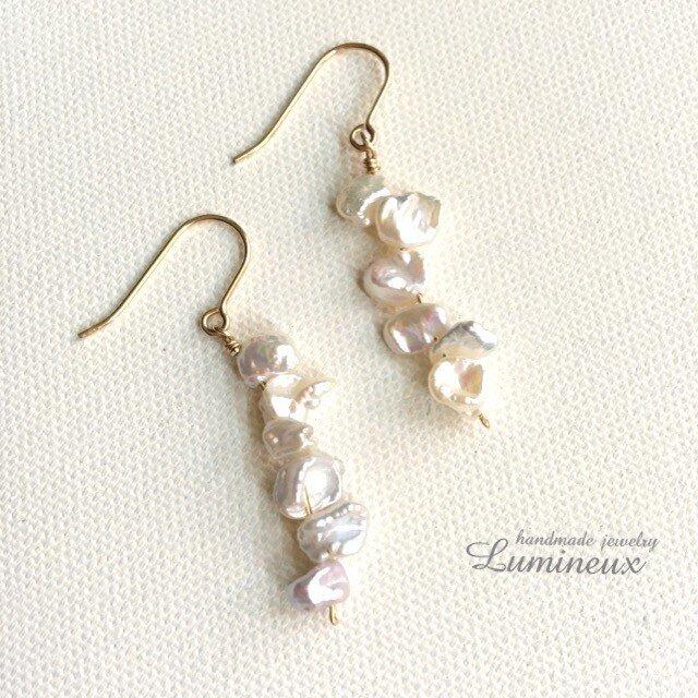 Freshwater Pearl long earrings k14gf (pierce)の画像1枚目