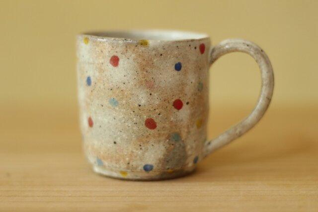 粉引きカラフル小さいドットのカップ。の画像1枚目