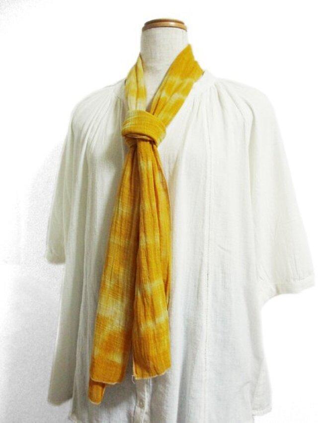 綿ストール(黄色ボーダー絞り染)の画像1枚目