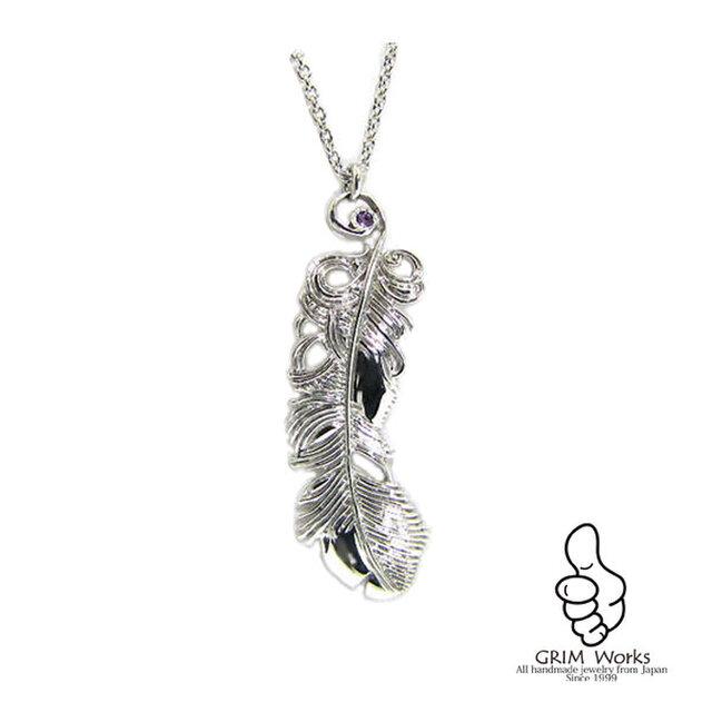 銀の羽 ネックレス (各種天然石の指定可能)の画像1枚目