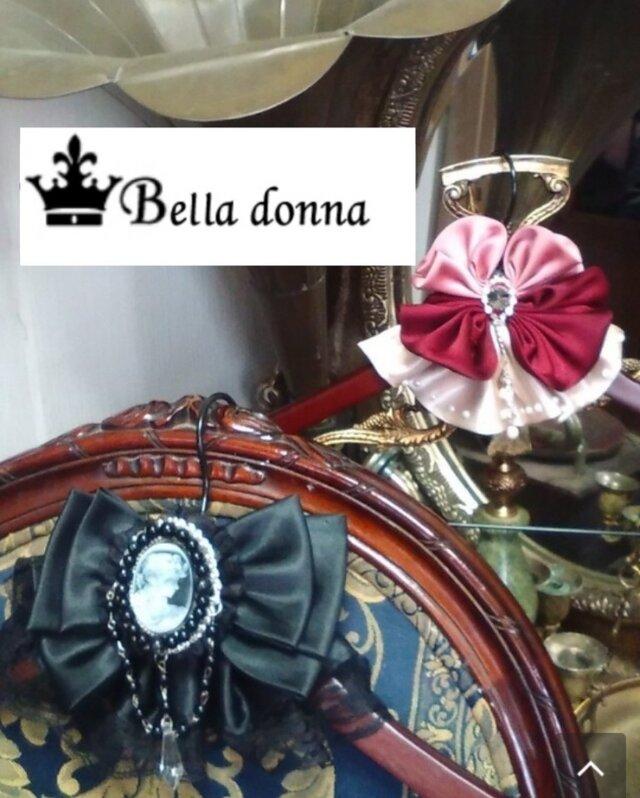 Bella donna 見せる木製ハンガー(^-^)カメオ調レースリボンの画像1枚目