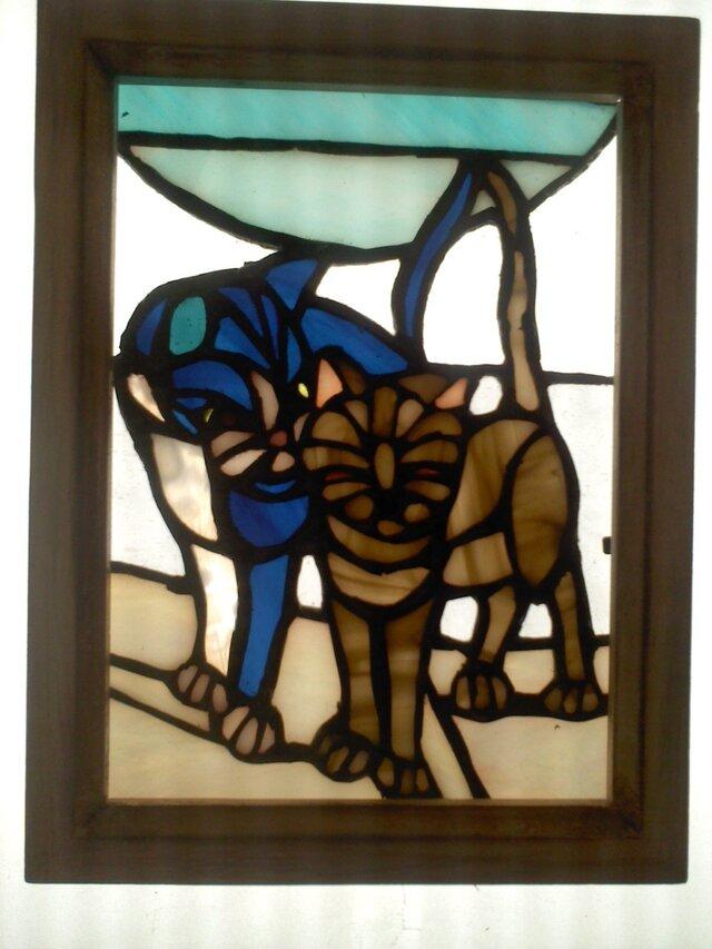 ステンドグラス 猫小額 「仲良し散歩」の画像1枚目
