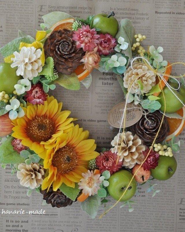 sunflower,orange & apples:wreathの画像1枚目