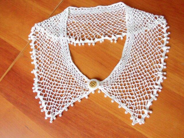 極細リネン糸の手編みレース 夏にぴったり 可憐なスペアカラー (白×パールビーズ)の画像1枚目