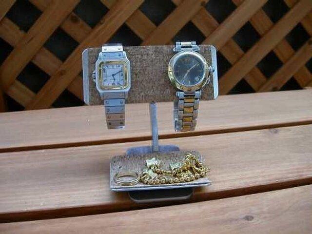 バー2本掛けデスク腕時計スタンドの画像1枚目