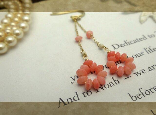 ピンク色の珊瑚a pierce・earingの画像1枚目