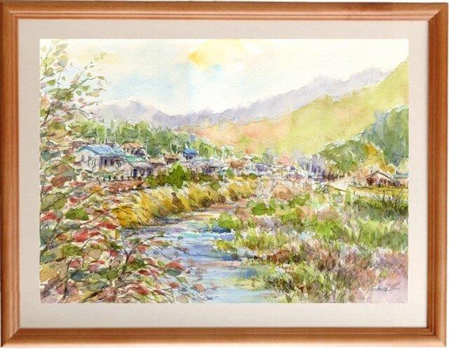 水彩画原画 里山の秋3の画像1枚目