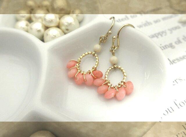 ピンク色の珊瑚b pierce・earingの画像1枚目