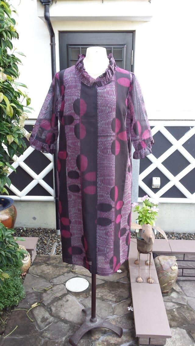 着物リメイク 古布 手作り 紗のワンピース(正絹)の画像1枚目