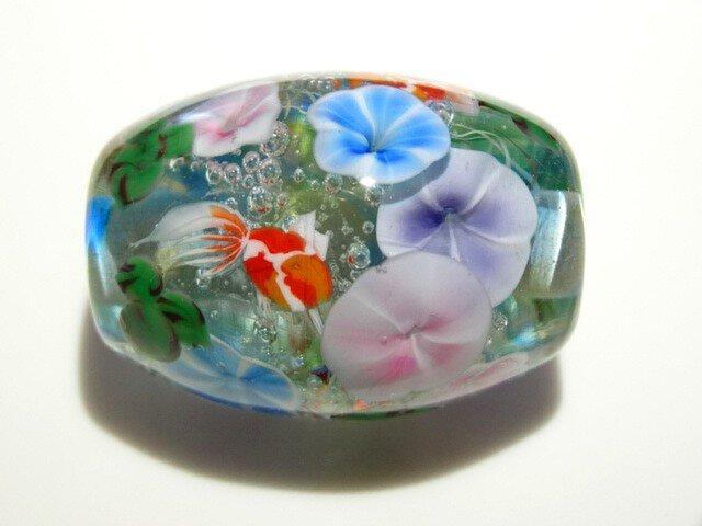 朝顔と金魚のとんぼ玉(ガラス玉)の画像1枚目