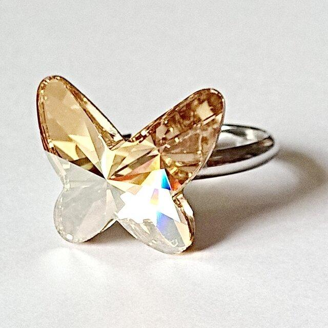 スワロフスキー 大きい蝶(稀少18mm ゴールデンシャドウ)の 幸運のリング】の画像1枚目