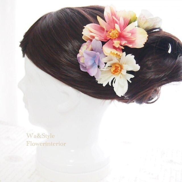 ❖髪飾り(花和小物)和モダンピンクコスモス・おまけ付き♪の画像1枚目