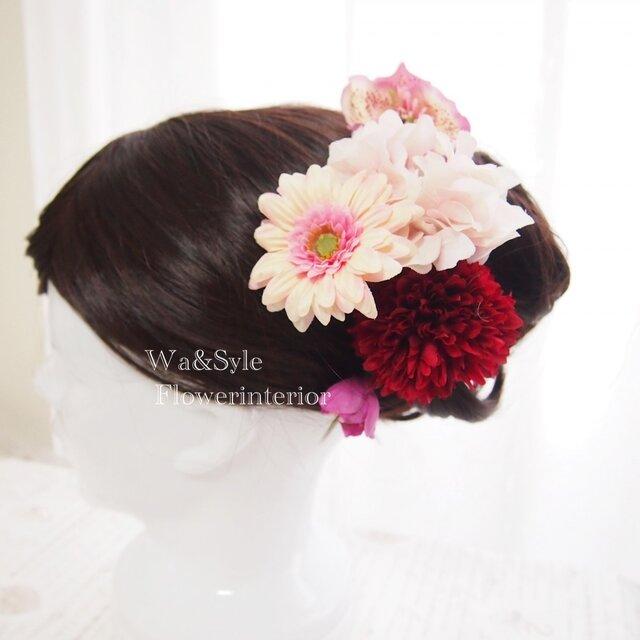 ❖髪飾り(花和小物)和モダンピンクガーベラ・おまけ付き♪の画像1枚目