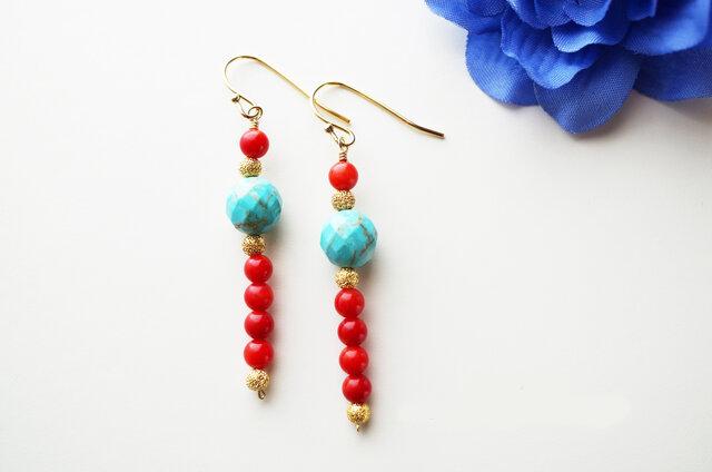 ターコイズ&珊瑚(コーラル) Turquoise&Coral earrings P0027の画像1枚目