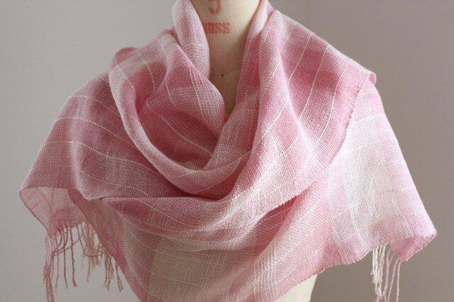 手織り ピンクの絹麻ストールの画像1枚目