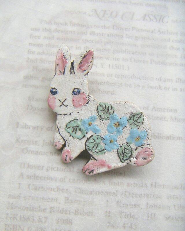 夏の新作!水色お花のウサギちゃん の画像1枚目