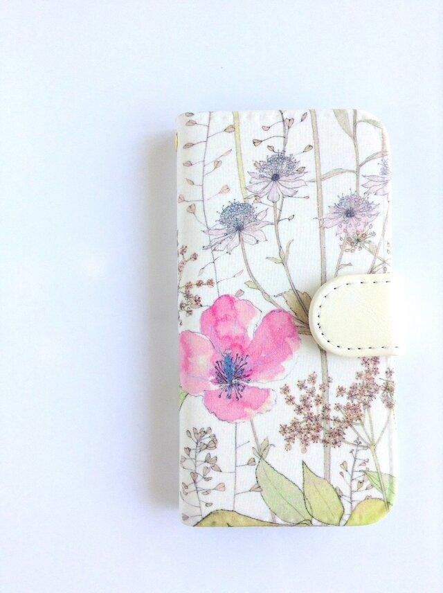 他機種製作可 リバティiphone7/8手帳型ケース イルマ ベビーピンクの画像1枚目