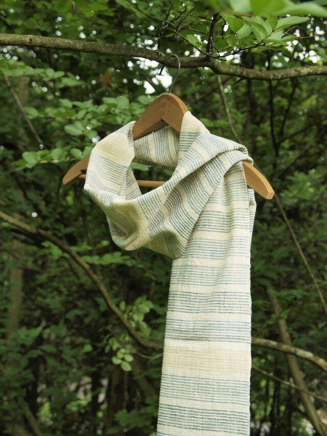 手紡ぎ木綿のボーダーストール の画像1枚目