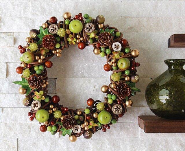 グリーンアップル・りんご・木の実・リース (M03U) クリスマスの画像1枚目