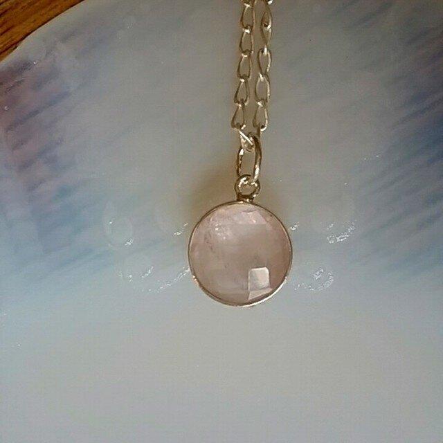 宝石質☆ローズクォーツ silver ペンダント  の画像1枚目