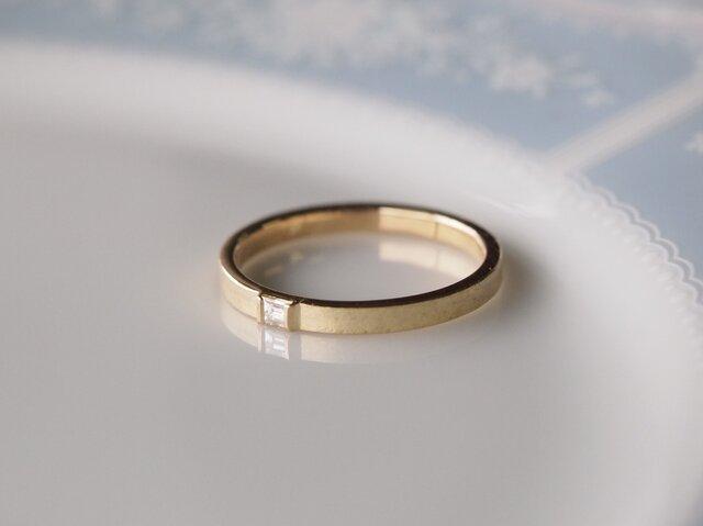K18平打ち・ダイヤ指輪の画像1枚目