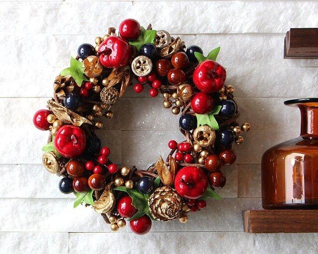 りんご・木の実・ネイビー・レッド・リース (R05J) クリスマスの画像1枚目