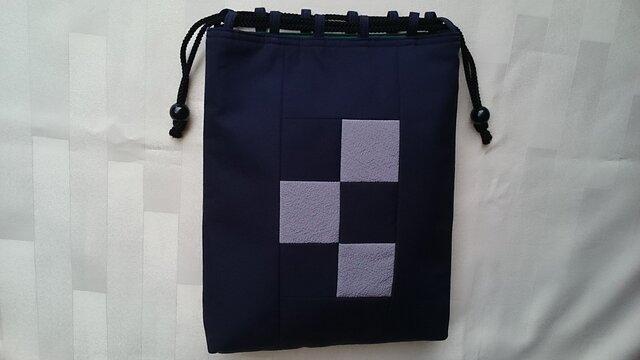 着物生地信玄袋(男性用)紺、グレー47の画像1枚目