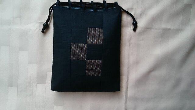 ♪着物生地の信玄袋(男性用)紺、グレー48の画像1枚目