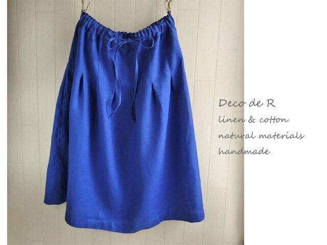 リネンのふんわりスカート ブルーの画像1枚目