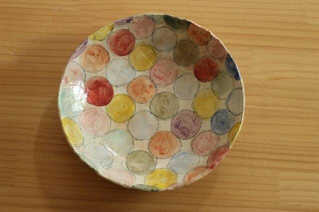 粉引きカラフルドットのパスタ皿。の画像1枚目
