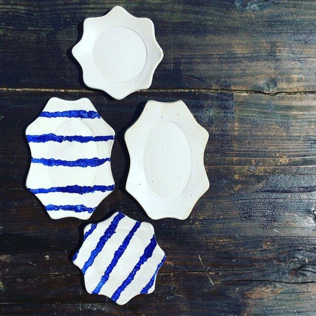 マットホワイト楕円リム皿の画像1枚目