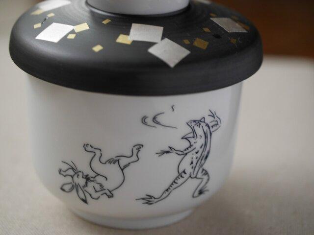 鳥獣戯画蓋付き碗の画像1枚目