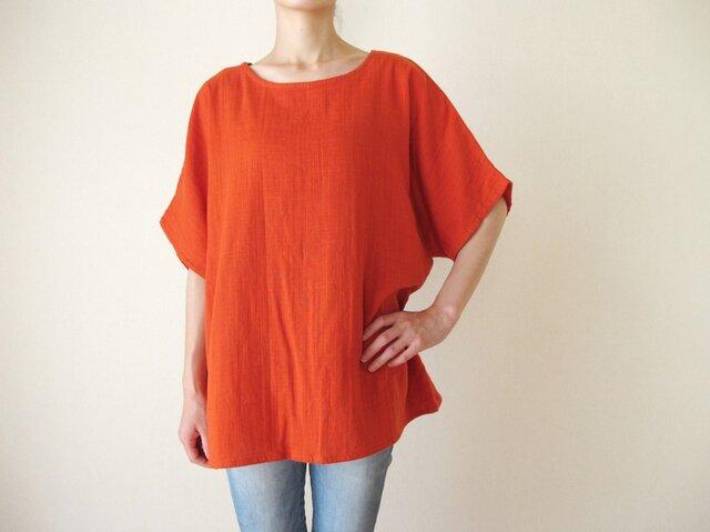 ダブルガーゼ(綿100%)のシャツ(オレンジ)の画像1枚目