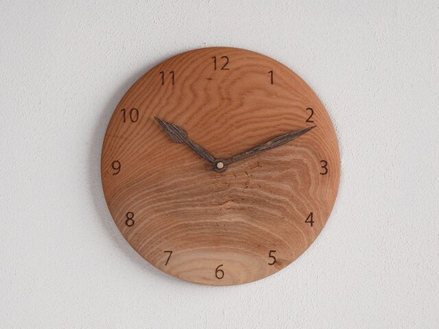 掛け時計 丸 けやき材37の画像1枚目