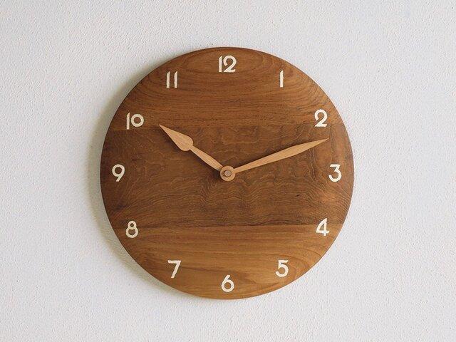 掛け時計 丸 チーク材14の画像1枚目