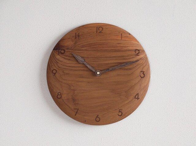 掛け時計 丸 チーク材17の画像1枚目
