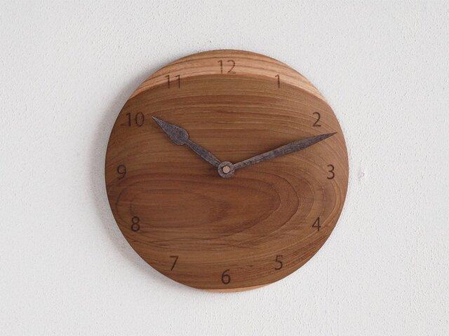 掛け時計 丸 チーク材20の画像1枚目