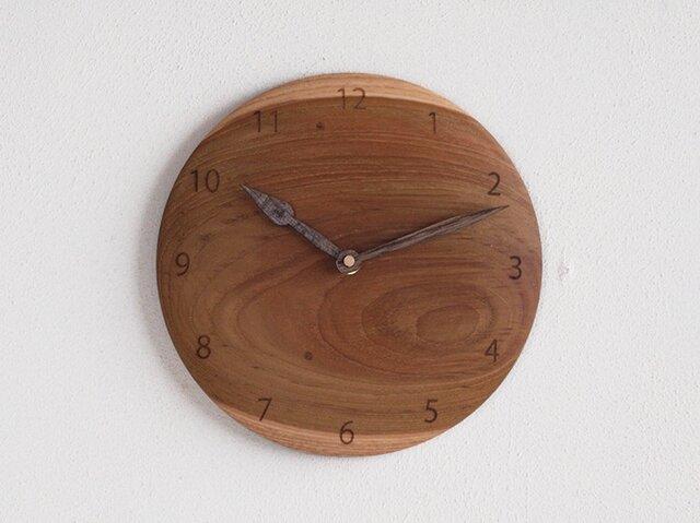 掛け時計 丸 チーク材21の画像1枚目