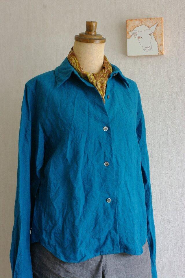 ベルギーリネンのシャツ トルコブルーの画像1枚目