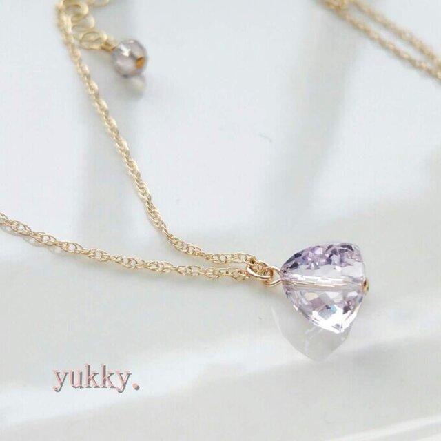 宝石質ピンクアメジスト♪triangle14Kgfネックレスの画像1枚目